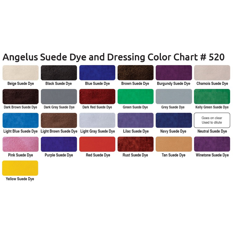 angelus suede dye colour chart
